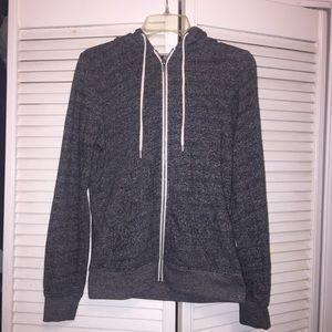 zine gray zip up hoodie